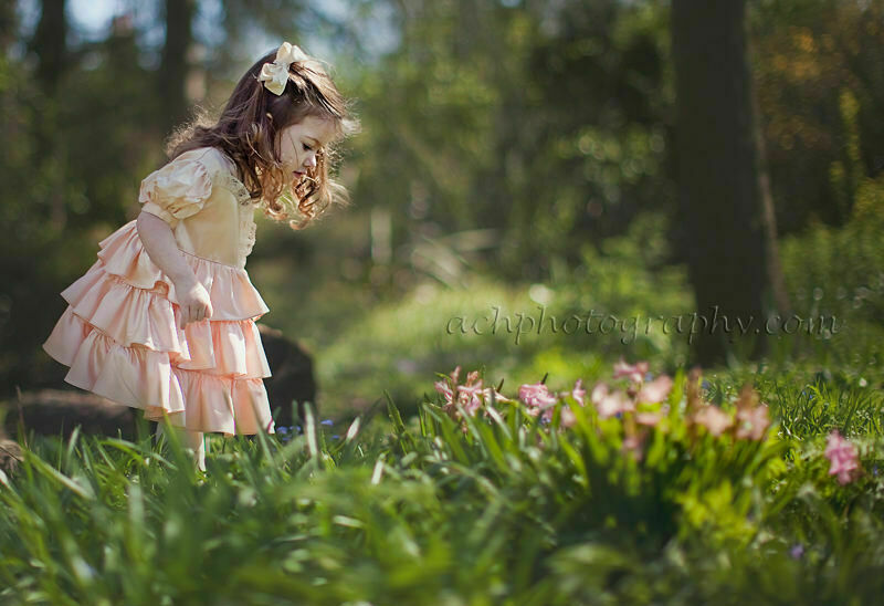 toddler photographer london | outdoor portrait of 2.5 years old girl wearing heirloom dress
