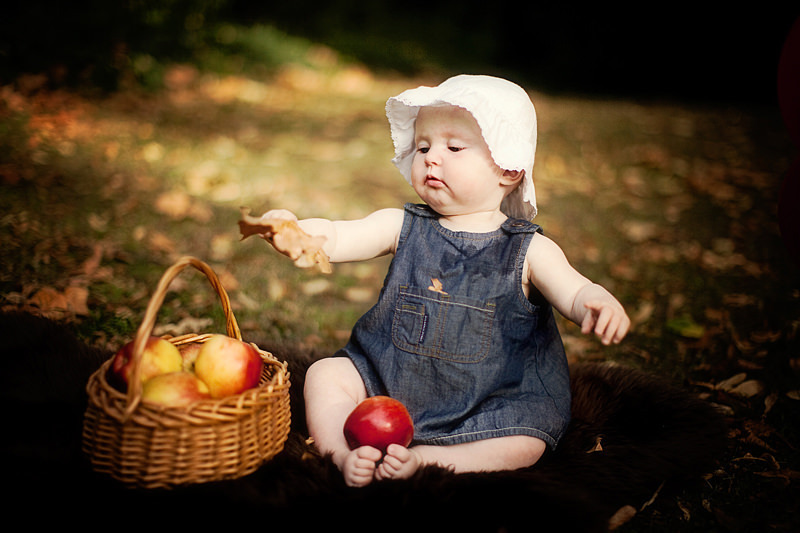 London baby pictures | baby girl looking at a leaf and sitting next to basket full of apples