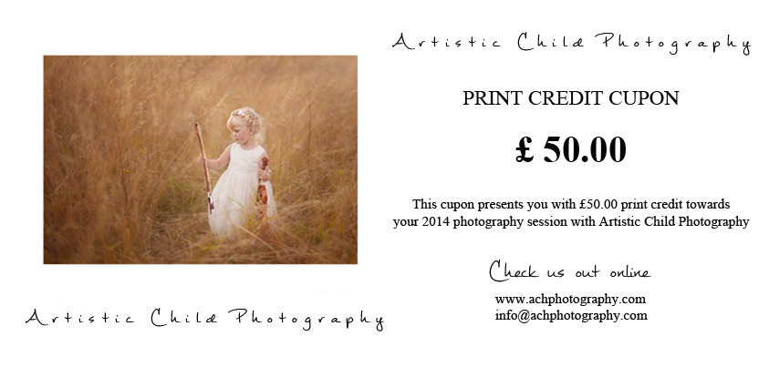 London Children Photography Offer | £50 print credit coupon from Artistic Child Photography