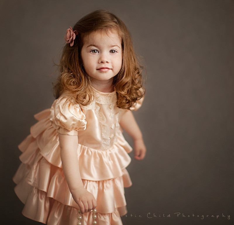 London Toddler Portraits | red hair girl in heirloom dress