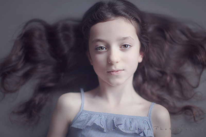 image of 7 years old girl taken from above | London studio