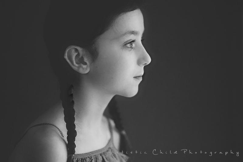 black and white profile portrait of a girl | London studio