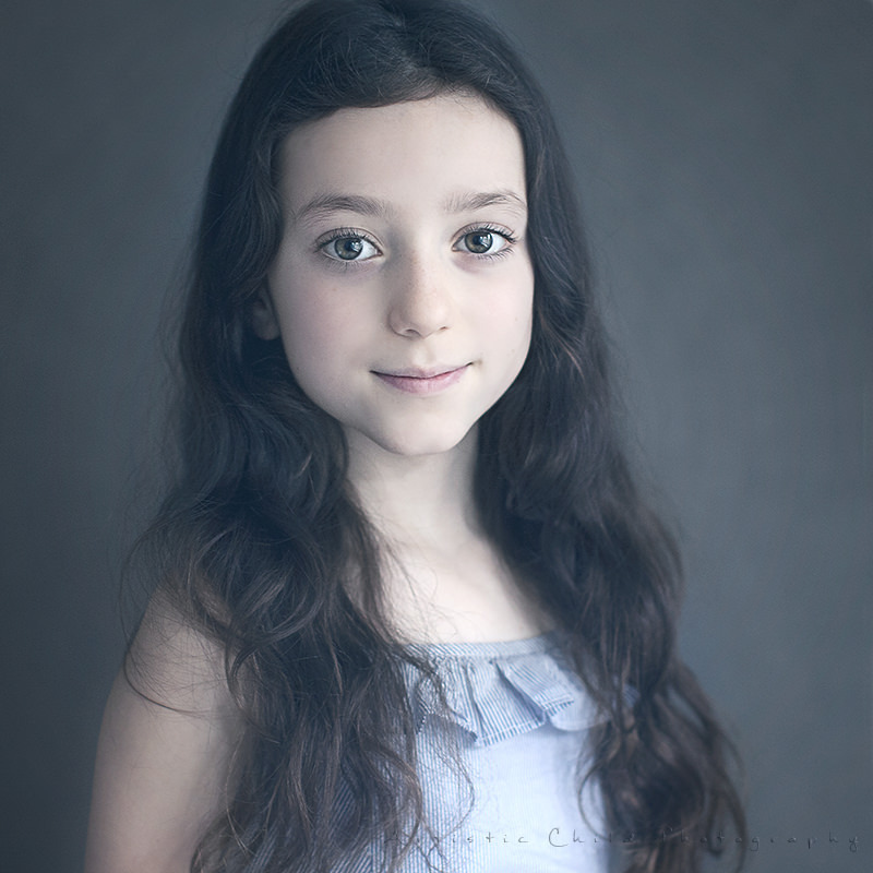 London Kids Photos | very traditional portrait of a girl in blue tones