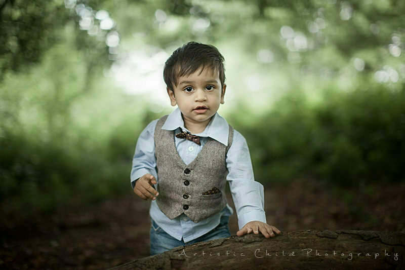 Richmond Toddler Photography | portrait of 1 year old boy wearing waiscote and bow tie
