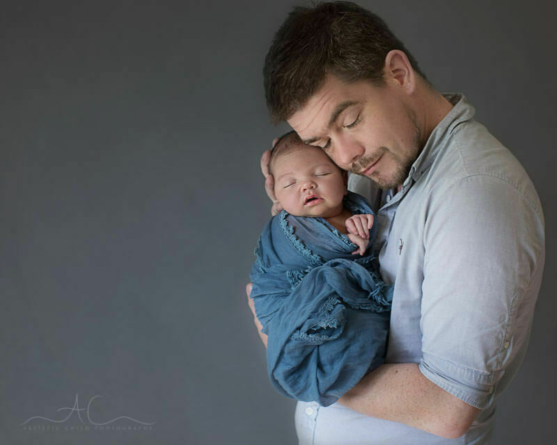 dad and newborn baby boy portrait in colour  London