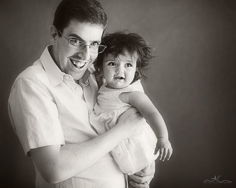 Bromley Family Photos | black and white portrait of a father and his 8 months old baby girl