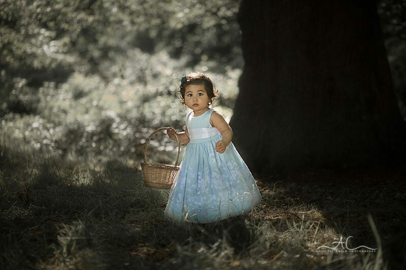 Natural Light London Toddler Portraits| 15 months old girl carrying a basket in London park
