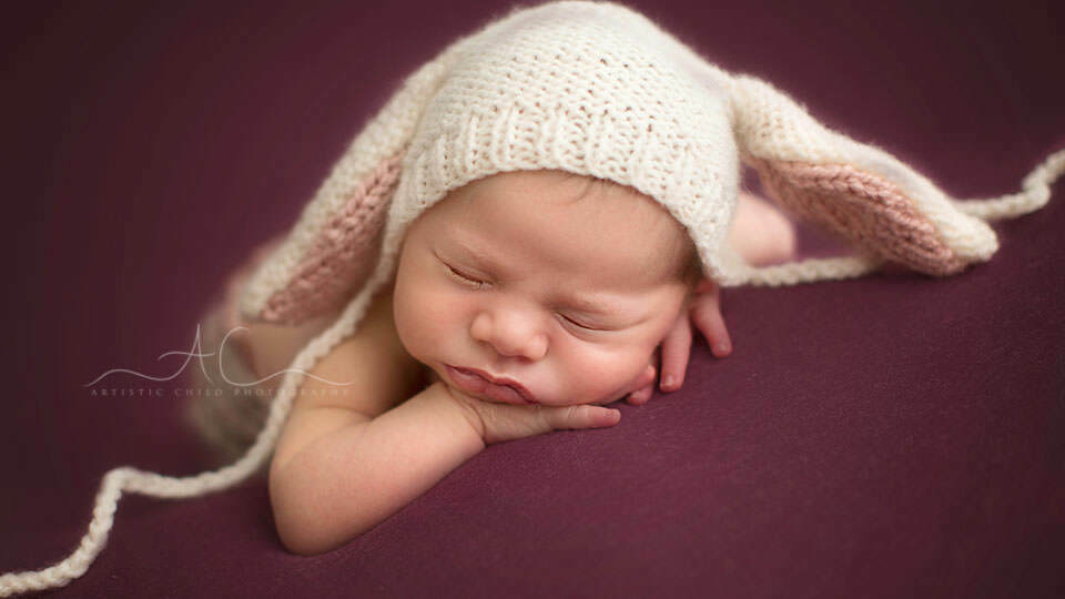 South East London newborn photography | portrait of newborn baby girl in bunny hat