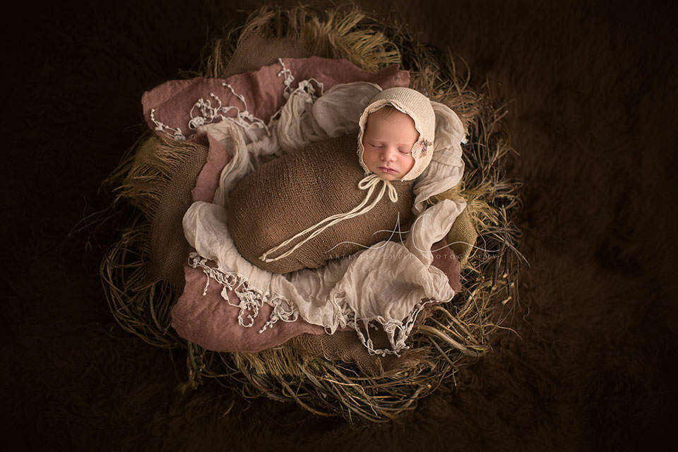 Professional London Newborn Photo Session | wrapped newborn baby girl lying in the nest