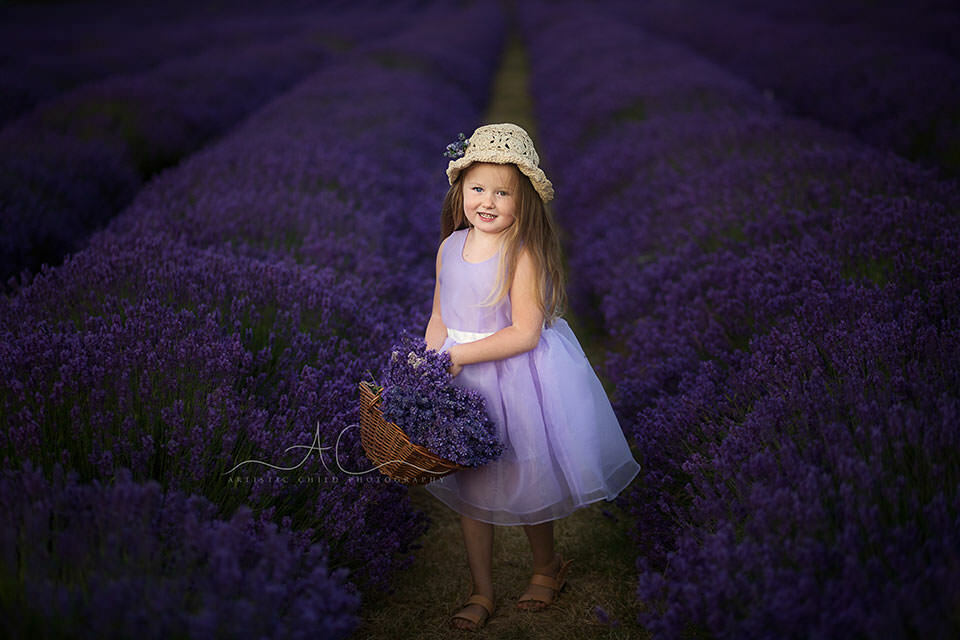London children photo session in Lavender Field | 4 year old girl with wicker basket full of lavender flower bunches