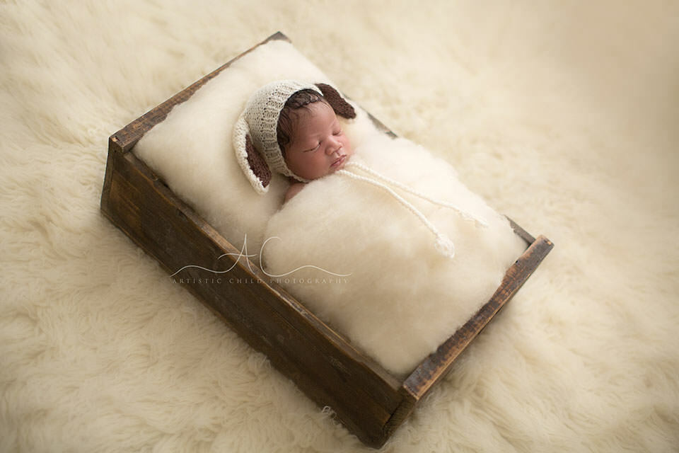Professional London Newborn Portraits   newborn baby boy  wearing a sheep hat prop