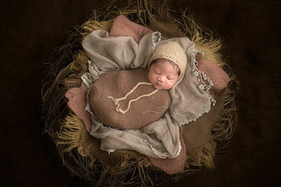 South East London Newborn Portraits | newborn baby boy  photographed in the nest prop