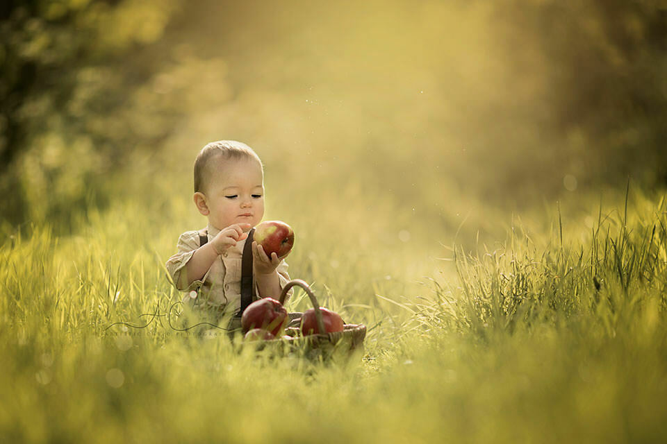 1 year old boy playing with apples in the grass | London