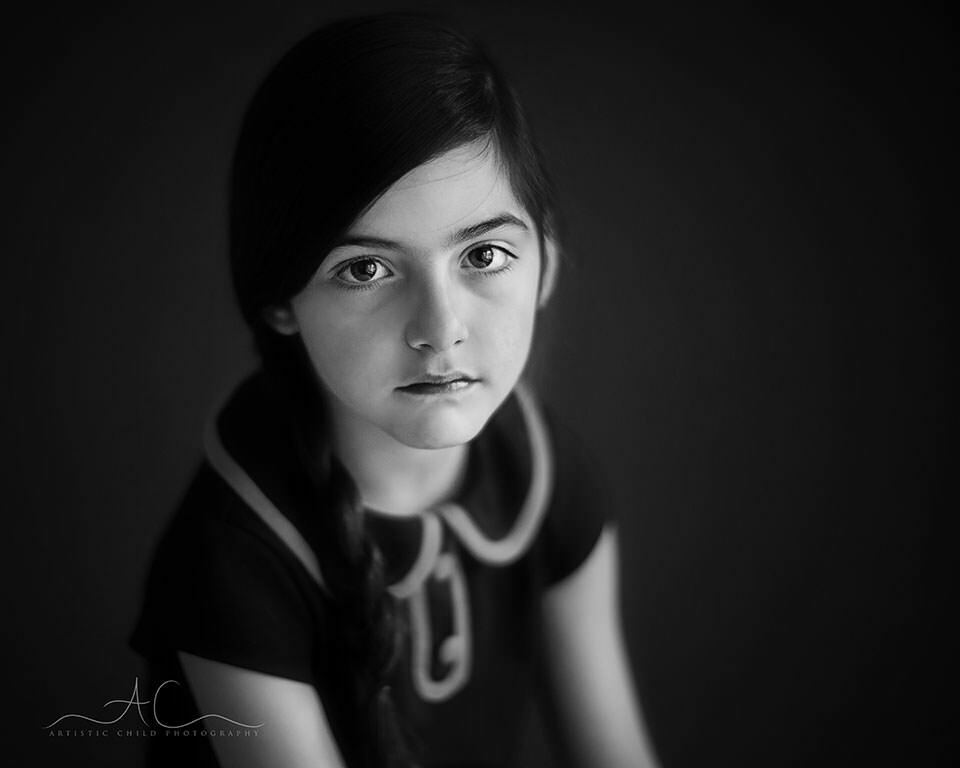 Black And White London Children Photography | portrait of 6 year old girl with braid