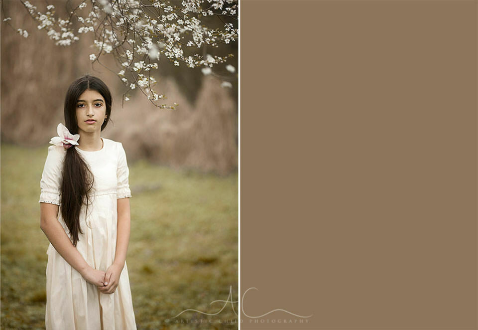 South East London Kids Pictures | 11 year old girl in long white dress standing under white blossom tree