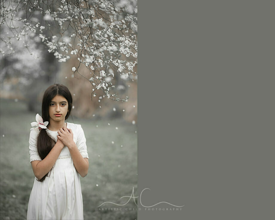 11 year old girl in white dress outdoor portrait | London