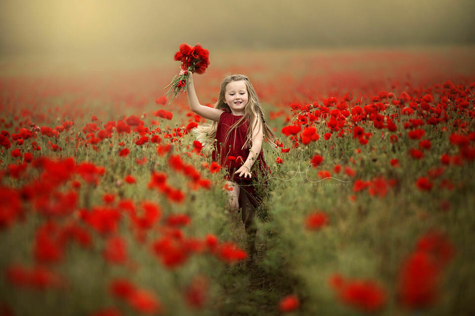 Best London Kids Pictures | portrait of a 5 year old girl running thorough a poppy field and waiving with a bunch of poppies