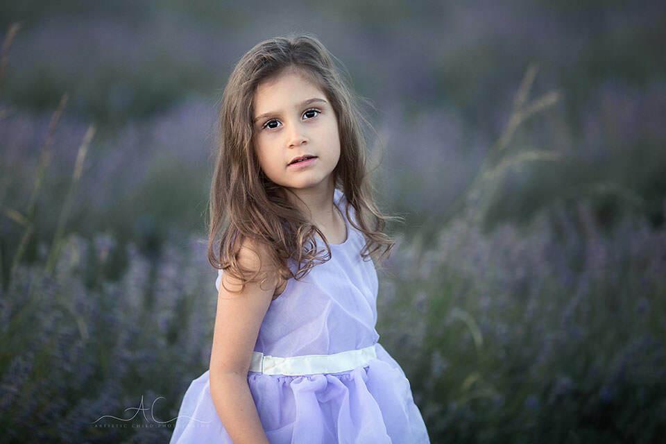 portrait of 5 year old girl taken in lavender field | London
