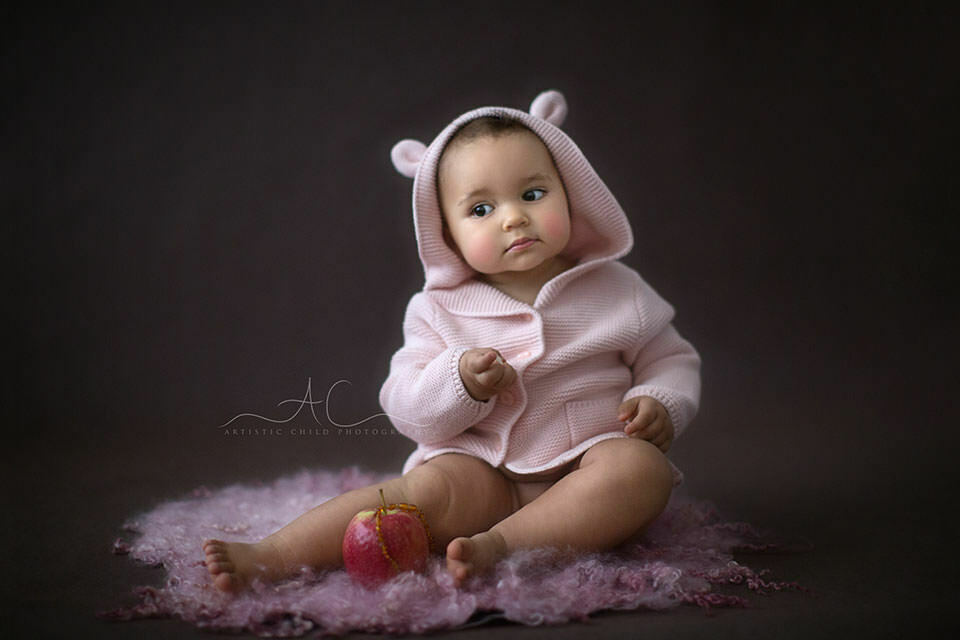 South East London Toddler Portraits | 1 year old girl in a pink bear ear cardigan