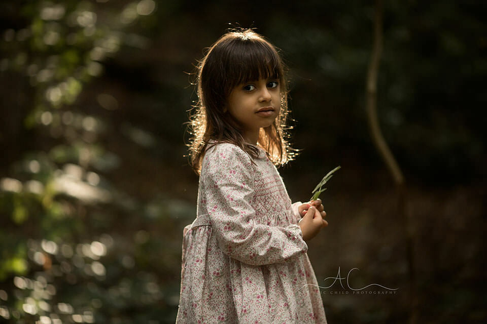 South East London Kids Photography   backlit portrait of 5 year old girl taken a golder hour