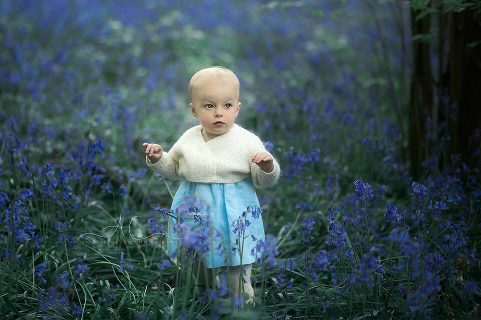 1 year old baby girl walking among bluebells in woodland looking London park