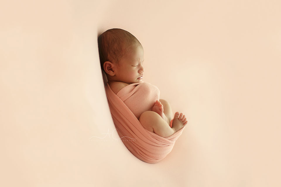 backlit portrait of the newborn baby girl swaddled in a pink wrap | London