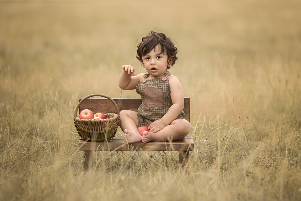 1 year old toddler boy plays with apples while sitting in a tiny wooden bench in the park | London