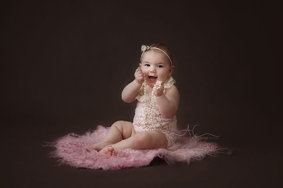 portrait of 8 months old baby girl  London