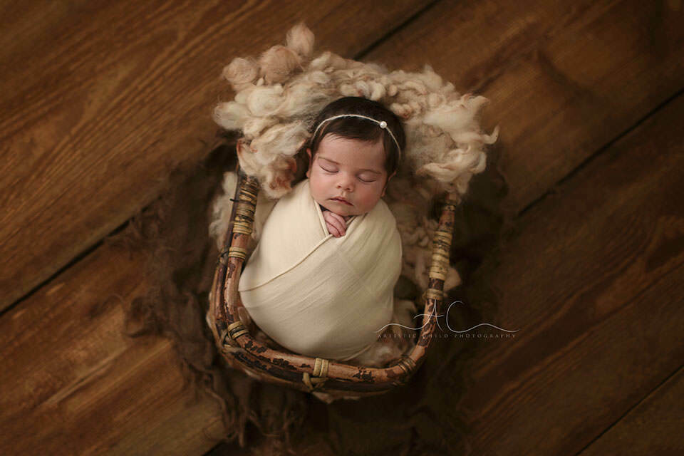 portrait of a newborn baby girl in a bamboo basket   London