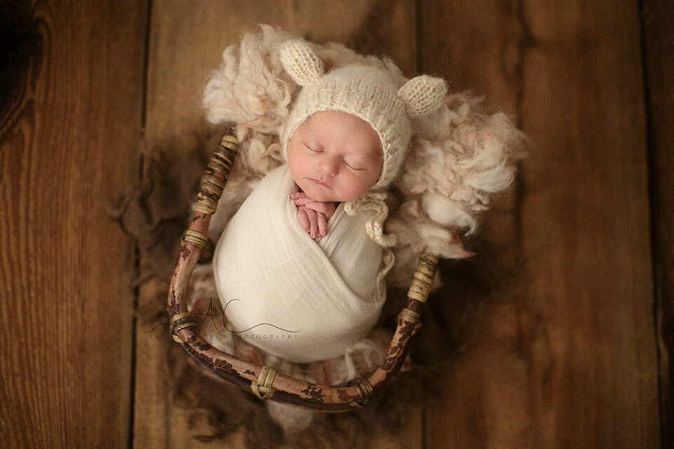 portrait of a newborn baby boy photographed in a bamboo basket | London