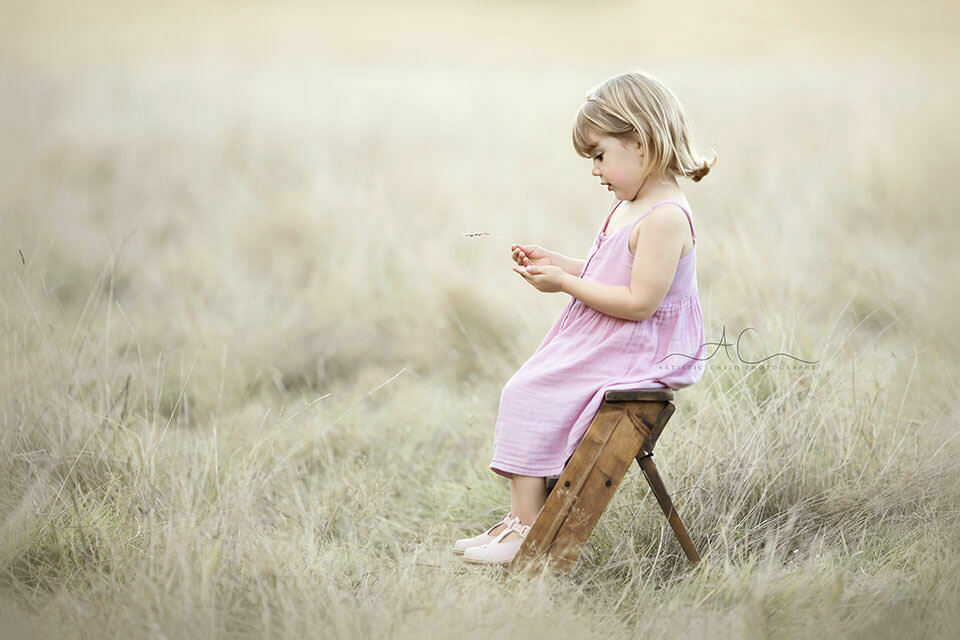 3 year old girl plays with a blade of grass while sitting on wooden ledder steps in the filed of long grass