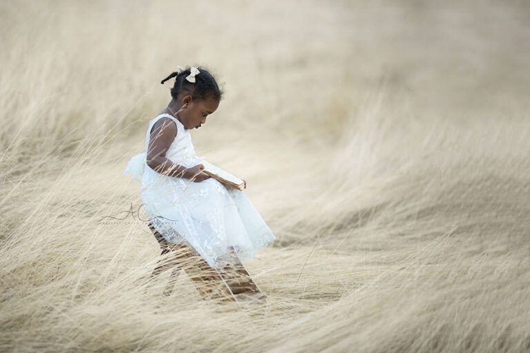 Bromley Toddler Images   photo of a 2 year old girl sitting on a ladder steps and reading a book in the long dry grass field