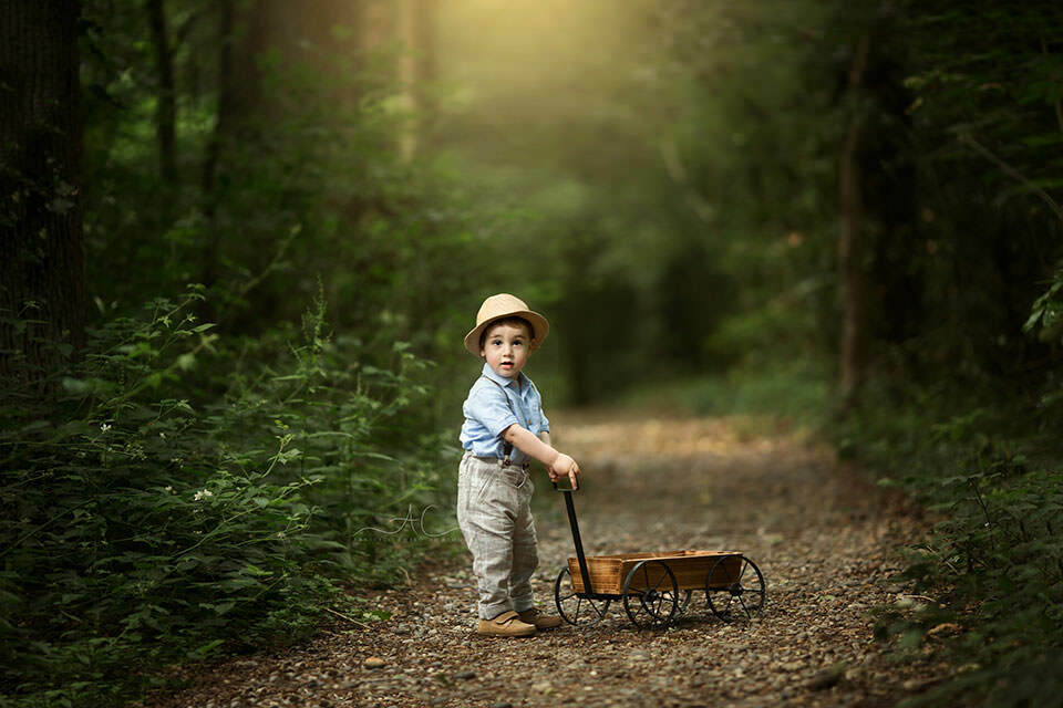 portrait of a toddler boy walking with a wooden trolley in the park | London