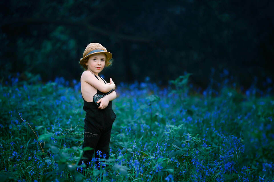 photo of a 4 year old boy surrounded by bluebells | London