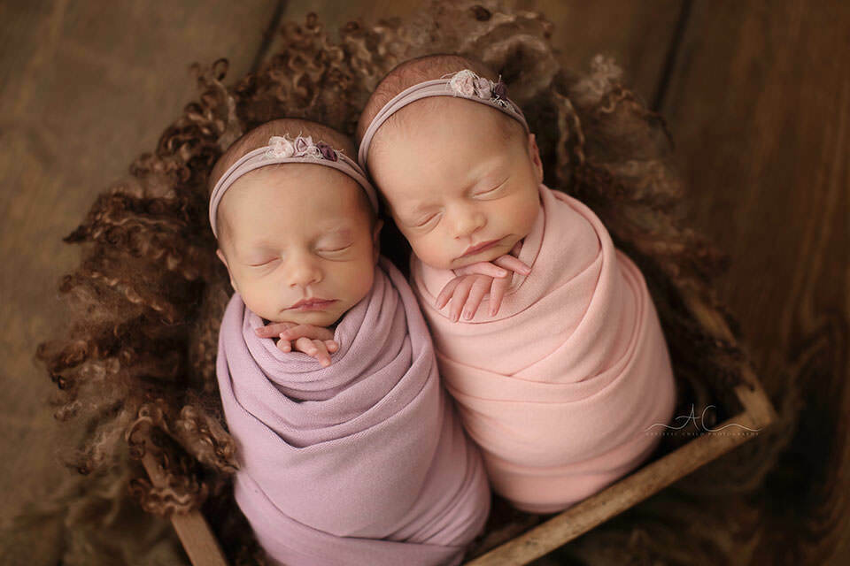 twin newborn girls swaddled in pink and purple wrap duering their professional photo session in London