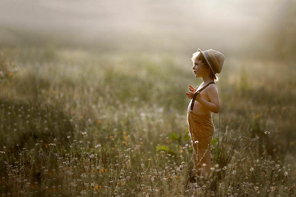 Beautiful London Child Photography in Wildlower Field   4 year old boy looks into space in wildflower field