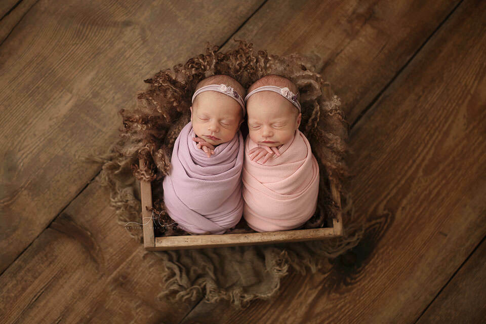 London Newborn Twin girls Photo Session | portrait of newborn twin girls in wooden crate