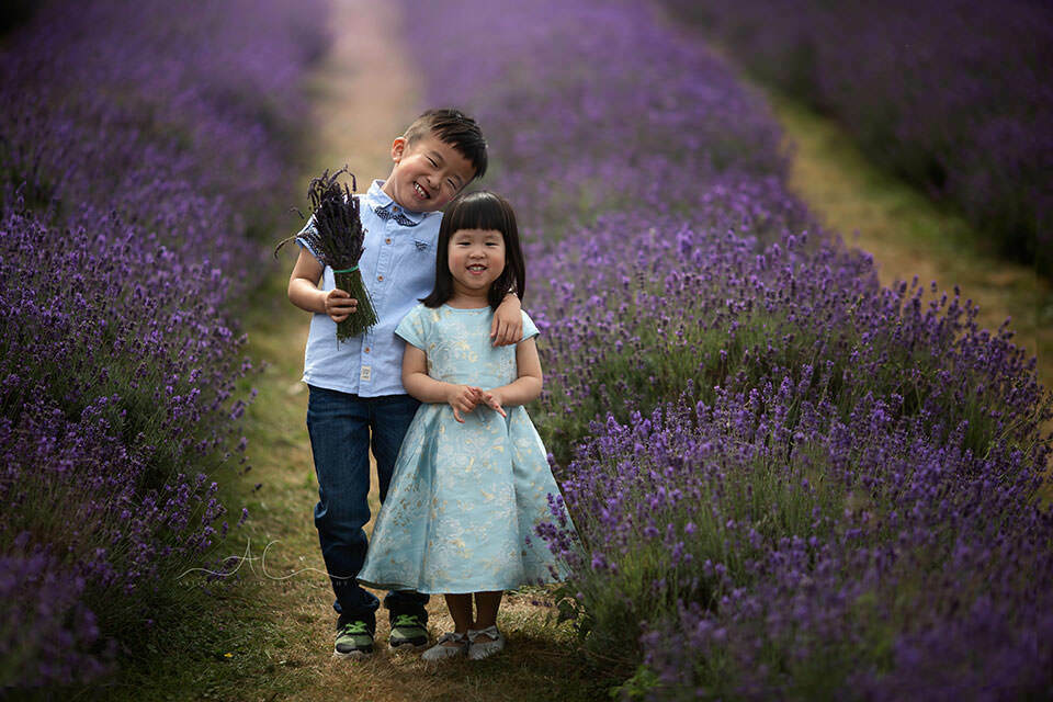 London Sibling Photography in Lavender Field | borther and sister having fun in lavender field
