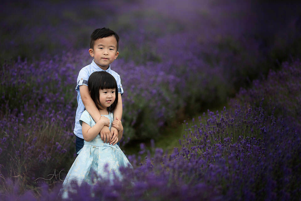 London Sibling Photography in Lavender Field | professional portrait of brother and sister taken in Mayfield Lavender Field