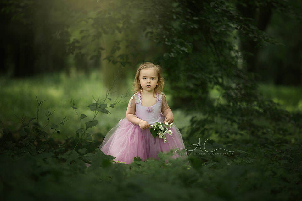 Princess Photo Session in London | 3 year old girl in princess dress poses in the park during a professional photo session