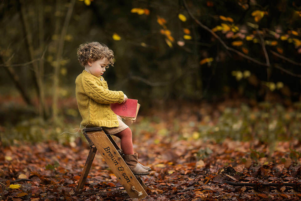 Autumn London Toddler Photo Session   autumnal portrait of a 2 year old girl seating in a park on a ladder steps and holding a book
