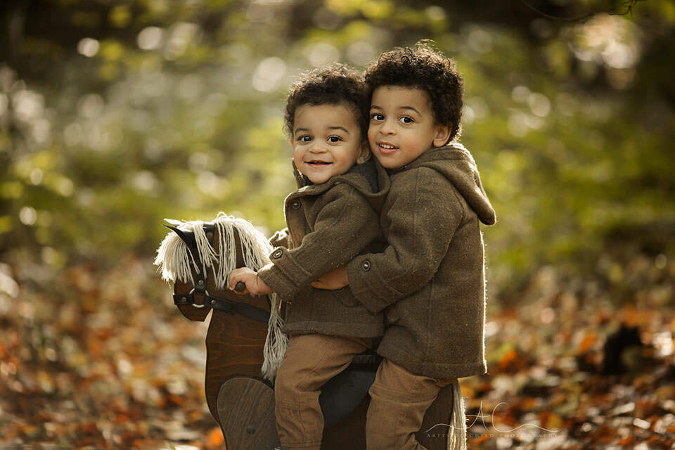 Bromley Autumn Sibling Photography   portrait of brothers on a rocking horse during autumn mini photoshoot