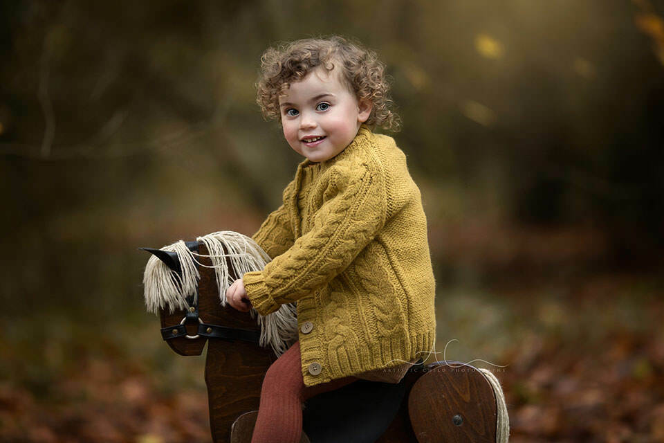 a close up autumnal portrait of a 2 year old girl sitting on a rocking horse in the park   London