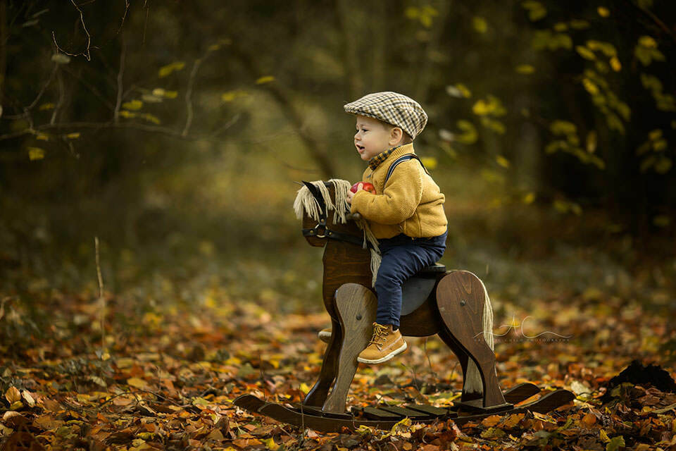 a profile portrait of toddler boy on a wooden rocking horse in one of South East London parks