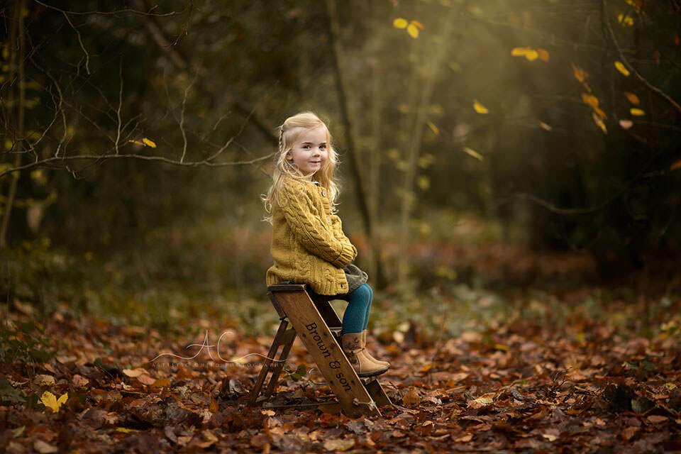 autumnal outdoor portrait of a 3 year old girl sitting on a ladder steps in a London park