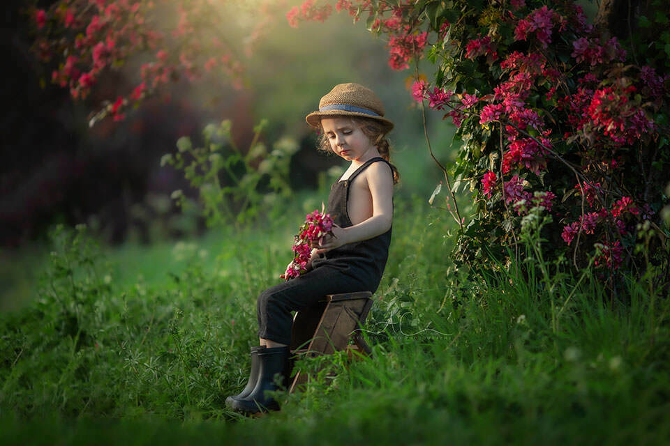 Top London Child Spring Photography | 4 year old boy sitting on a ladder steps under the blossom tree