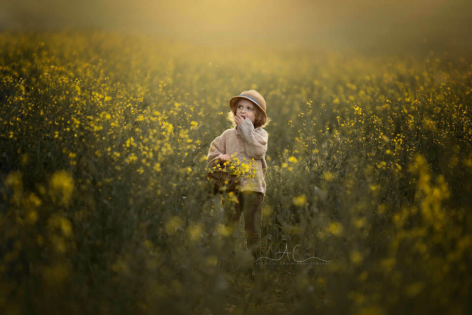 spring photo of a 4 year old boy taken in rapeseed field in South East London
