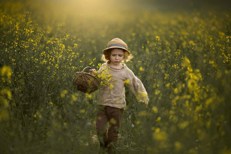 Rapeseed Field South East London Child Photography | backlit spring portrait of a 4 year old boy walking in the field of yellow