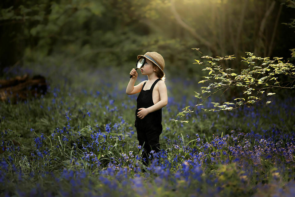 4 year old boy plays with magnifying glass in the middle of bluebells field in London park