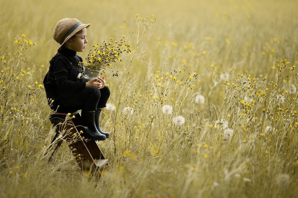 photo of a 4 year old boy sitting on a wooden leather steps in the middle of wild flowers | London